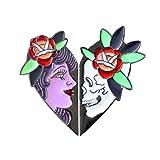 N/U PULABO2pcs Punk Skull Queen Head Pin Love Heart Badge Denim Jacket Camisa Decoración Negro Excelente Calidad