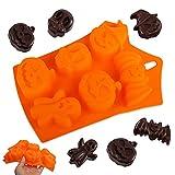 Yisscen Molde de silicona para Halloween, molde de caramelo Molde de Chocolate Calabaza Calavera Murciélago Fantasma Molde de Pastel de Silicona antiadherentes de grado alimenticio(6 cavidades)
