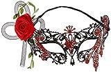 Smiffy'S 44957 Semimáscara Filigranas De Metal Del Día De Muertos Con Rosas, Negro