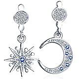 Unendlich U-Fashion Pendientes de colgar distintos, estrella luna, plata de Ley 925 con circonita, para mujeres plateado + azul