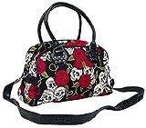 Banned Alternative Skulls and Roses Mujer Bolsa de Mano Negro, 100% algodón,