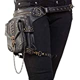 Bolso de Hombro de Cuero Steampunk, Cuero de PU Bandolera Paquetes De Cintura Pierna Bolsas táctico Pierna Banana Macutos de Senderismo Negro Waist Leg Bag
