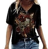 Camiseta con Estampado gráfico de Calavera Rosa para Mujer Camiseta de Manga Corta con Cuello en V y Estampado Lindo Top