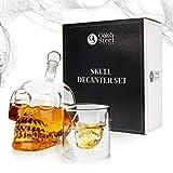 Oak & Steel - Decantador de Cristal Premium de Calavera (500 ml) - Botella Vino de Calavera/Set Incluye 6 Vasos de Chupito Originales de Calavera (75 ml)