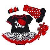 LNL Bebé niña Disfraces de Calavera de Halloween Romper Tutu Falda de Encaje + Calentador de piernas + Zapatos + Diadema 3-6 Meses