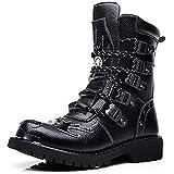 YUHAI Botas Altas para Hombre Punk Rock Botas de Motociclista góticas Botas de Caballero Zapatos Retro de tacón bajo,Internal Increase-40(UK 7)
