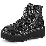 MeiLuSi Botas de combate con plataforma para mujer con hebilla y tachuelas góticas punk, color negro, Negro (black Patent Leather), 39 EU