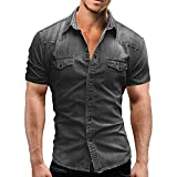 Jinyuan Camisa De Hombre De Moda Camisa De Mezclilla con BotóN Delgado para Hombre Casual Camisa De Manga Corta para Hombre con Bolsillos Gris Claro M