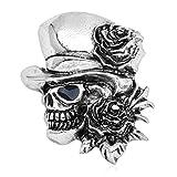 Buwei Goth Vintage Punk Fiesta de Halloween Calavera Esqueleto Rosa Flor Broche Pin Regalos