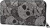 styleBREAKER Monedero de Mujer con Estampado de Cachemira con Calavera, Cremallera, Cartera 02040118, Color:Negro