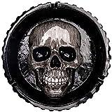 Cenicero de Calavera- Redondo de Cenicero de Polyresin Cenicero Decorativo Retro Para Coche Creativo Pirata Calavera Cigarrillo Decoración el Hogar Cenicero de Tabaco (14.5 * 14.5 * 4.5 cm) (Negro)