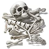 PREXTEX - Bolsa de Huesos y Cráneo de Esqueleto de 18 Piezas para la Mejor Decoración de Halloween y el Cementerio más Escalofriante