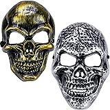 Qpout Máscaras de Halloween para adultos, Máscara anónima de calavera aterradora,Máscara de hacker plateada divertida para hombres/mujeres Fiesta De Halloween Accesorio de mascarada cosplay Decoración