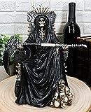 Atlántico Collectibles negro Santa Muerte Grim Reaper Esqueleto sentado en trono figura decorativa 10,5cm tiempo no espera para hombre ángel de la muerte con guadaña