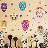 decalmile Pegatinas de Pared Halloween Vinilos Decorativos Cráneo Flores Adhesivos Pared Dormitorio Sala Ventana Decoración de Halloween
