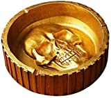 Cenicero de Calavera- Redondo de Cenicero de Polyresin Cenicero Decorativo Retro Para Coche Creativo Pirata Calavera Cigarrillo Decoración el Hogar Cenicero de Tabaco (14.5 * 14.5 * 4.5 cm) (Dorado)