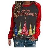 Blusas con Cuello Redondo y Estampado navideño para Mujer, Costura de Manga Larga, cómoda Simplicidad, Blusas Tipo Sudadera