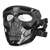 HUNTVP táctica Máscara Skull Protectora Máscara Militar Paintball para Hombres Paintball Airsoft CS Cosplay Halloween, Negro