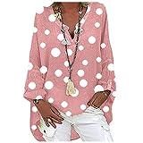 VEMOW Blusas y Camisas de Manga Larga para Mujer con Cuello en V, 2021 Moda Casual Camiseta de Lino de Gran Tamaño Sudadera Verano Camisa con Estampado de Girasol Túnica Tops Largos Sueltos(C Rosa,M)