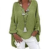 VEMOW Blusas y Camisas de Manga Larga para Mujer con Cuello en V, 2021 Moda Casual Camiseta de Lino de Gran Tamaño Sudadera Verano Camisa con Color Sólido Túnica Tops Largos Sueltos(A Verde,XL)