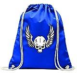 'Turn Bolsa 'Calavera con alas laterales Esqueleto Rocker Moto Club Gótico Biker Calavera Emo Old School con cordón–100% algodón de bolsa Con Asas De Mochila de bolsa de deporte, azul