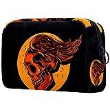 Bolsa de maquillaje con diseño de calavera con alas