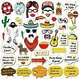 HOWAF Fiesta Mexicana Photo Booth Props Cabina de Fotos Accesorios Photocall Gafas máscara Sombreros para Cinco de Mayo Mejicano Fiesta de cumpleaños Boda Carnaval decoración Suministros (50pcs)