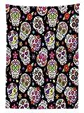 Yeuss - Mantel decorativo de calavera de azúcar, diseño de figuras rituales de cementerio de México, diseño de máscara en fondo negro, para comedor, cocina, 132 x 178 cm