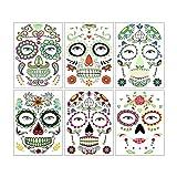 Tatuajes de Halloween, tatuajes faciales fluorescentes, 6 hojas de pegatinas de calaveras de azúcar que brillan en la oscuridad, para maquillaje de Halloween (Cara Pegatinas)