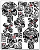 Biomar Labs® 7pcs Pegatinas Punisher Calavera DC Sticker Stickerbomb Vinilo Adhesivo Coches Cascos Motos Ciclomotores Bicicletas Ordenador Portátil D 16
