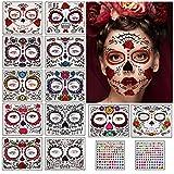 Herefun Halloween Tatuajes Temporales de Cara, Pegatinas de Maquillaje Facial, 12 Tatuaje de cara de Halloween + 2 Etiqueta Engomada de la Gema, Skull Stickers para Halloween Disfraces y Fiestas